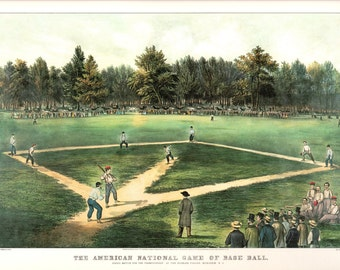 America's Game an Extra Large print of a Currier & Ives classic. This print is approximately 18 3/4 inches wide and 14 inches tall.