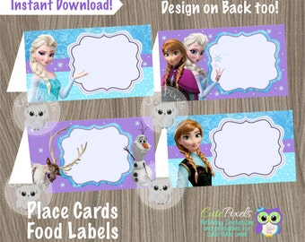 Frozen Place Cards, Frozen Food Labels, Frozen Tent Cards, Frozen Birthday, Disney Frozen, Frozen Party, Frozen Party Décor, Food tents