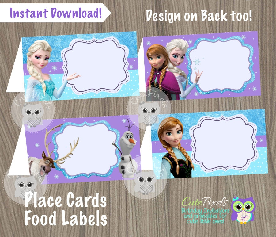 Frozen Place Cards Frozen Food Labels Frozen Tent Cards