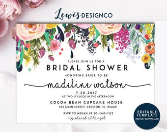 Bridal Shower Invitation | Watercolor bridal invite | Floral Bridal Shower Card | Instant Digital Download File PDf | Flower Bride DIY | Do