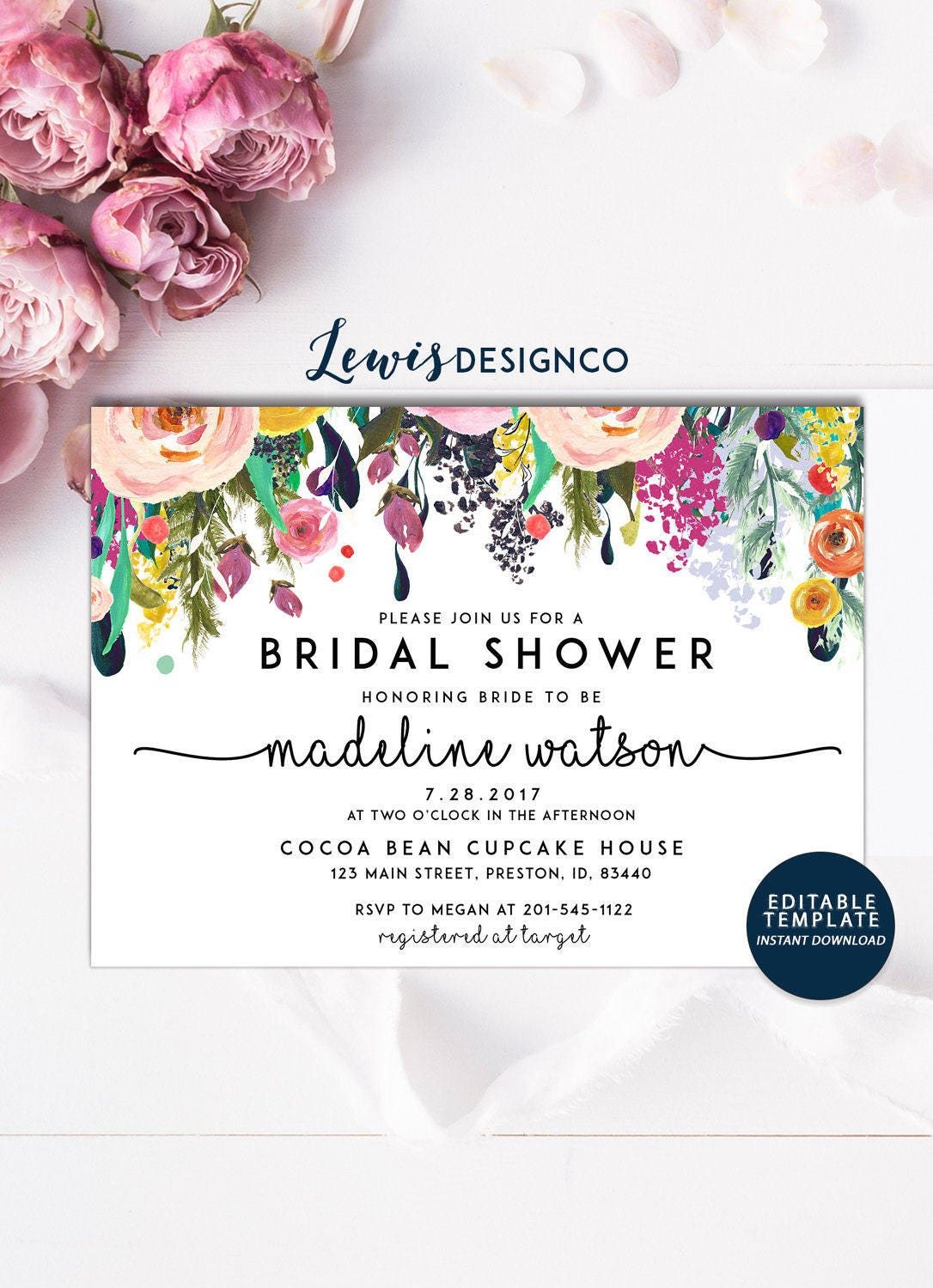 Purple Flower Bridal Shower Invitation : Bridal shower invitation watercolor invite floral