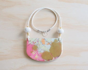 Resin Necklace | Wearable Art | Handmade | Map Goldie