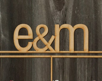 Initials | Custom | Contemporary style | Wedding Cake Topper 7inches| Laser Cut Cake Topper by Woodword Design Studio