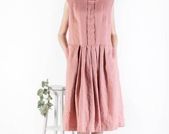Linen dress, Summer linen tunic, Loose Dress Large Size, women linen clothing, size  XXS to XXL, casual linen clothing