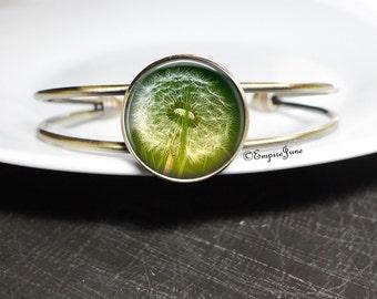 Green Bracelet Green Dandelion Bangle Summer Flower Bracelet Green Jewelry Lions Teeth Dandelion Bracelet Green Jewelry Green Summer Flower