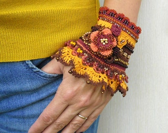 Crochet Bracelet Cuff in Red Yellow Brown with Flowers, Unique Handmade Crochet Jewelry, Freeform Crochet Cuff Perfect Gift for Her