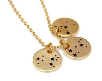 Zodiac Constellation Necklace, Sterling silver BFF Jewelry, Astrology Horoscope, Gold Zodiac Necklace, Zodiac Symbol Charms, Silver Charm