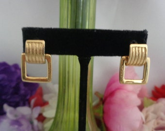 """Use Coupon 10OFF GIVENCHY Door Hanger Pierced Earrings that say GIVENCHY on the Earrings. They Measure 7/8"""" Tall and 5/8"""" Wide. Signed."""