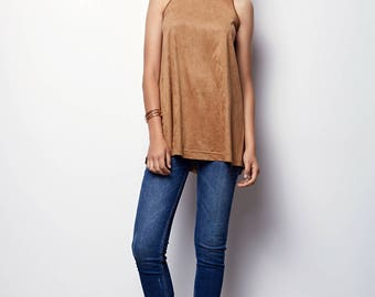 Tank Top Tunic, Suede like perforated tunic, with small holes - Ella - Camel