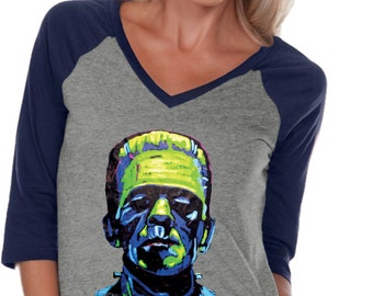 Ladies Frankenstein Face 3/4 Sleeve V-Neck Raglan Shirt 20719NBT2-WJP0568