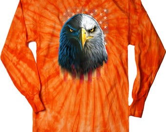 Eagle Stare Adult Long Sleeve Tie Dye Tee T-Shirt 20412D0-2000
