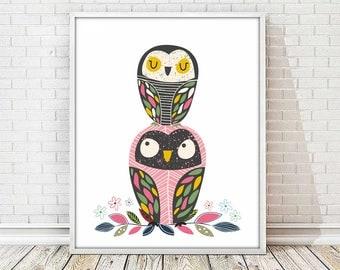 owl nursery print, animal print, kids art room, kids art decor,nursery print, nursery decor,owl printable,print,owl print,baby print,4 sizes