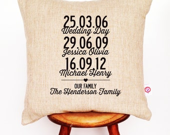 Our Family Personalised Linen Cushion Cover