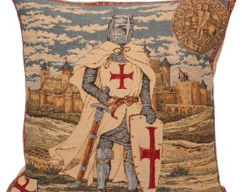 Templar Pillow Cover - 18x18 Belgian Tapestry Cushion Cover - Templer Knight Gobelin Pillow Cover - PC-1284