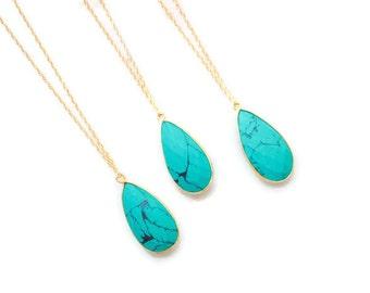 Green Turquoise Necklace, Gemstone Necklace,Pendant Necklace,Turquoise Jewelry,Gold Necklace,Teardrop Necklace,Boho Chic Jewelry,Pear shape