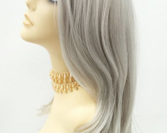 Long 19 inch Lace Front Straight Light Silver Gray Wig with Dark Roots. [118-554-Kayla-TT1B/60]