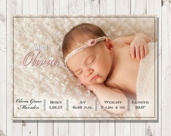 Meet Baby Girl Birth Announcement - Pink New Baby Announcement