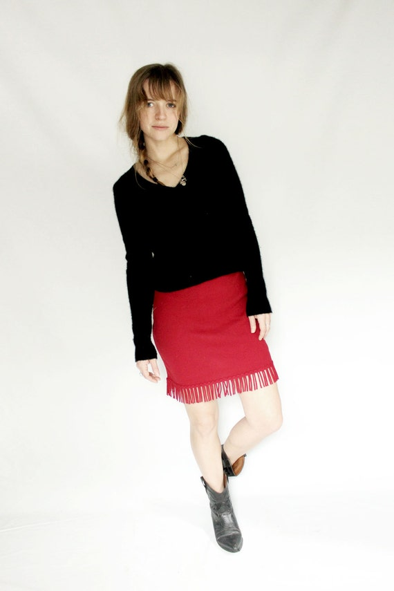 High waisted red pencil skirt with fringe, knit skirt with elastic waist, fringe skirt, western wear, eco conscious fashion, stretch skirt