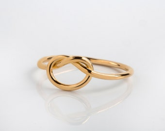 14K / 18K Solid Gold Infinity Knot Ring - Love Minimalist Stackable Ladies Ring - Alternative Eyecatching Band Ring