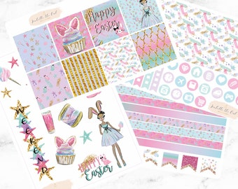 Erin Condren Horizontal Beautiful Easter Bunny Weekly Kit Planner Stickers