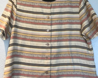 Tan striped button front top