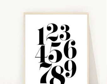 Numbers Print, Wall Decor, Numbers Printable Art, Retro Numbers, Nursery Art, Instant Download