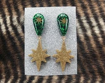 Green and gold atomic star dangle glitter resin earrings