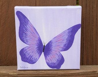 Original Purple Butterfly handpainted on 6x6 canvas