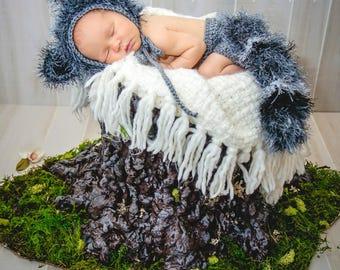 Baby Raccoon Costume - Woodland Nursery - Baby Halloween Costume - Newborn Outfit - Halloween Costume - Woodland Baby Shower - New Baby Gift