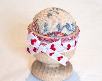 Egg Cup Pin Cushion, pin keeper, pin holder, sewing accessory,