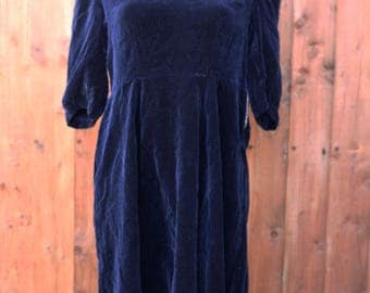 Navy Velvet Dress with Floral Collar
