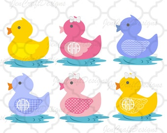 Rubber Duck SVG Monogram Frame SVG, EPS,Dxf, Png Monogram Nursery, baby shower, Easter basket Cut Files for Silhouette, Cricut Design Space