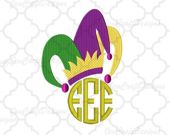 Jester Hat Embroidery Design PES Mardi Gras Hat Instant Download digital file in EXP, HUS, Jef, Pes, Vip and Xxx