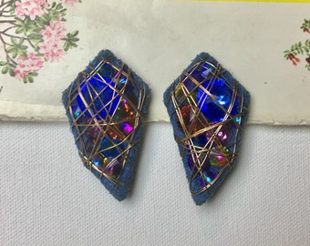 Vintage Outer Space Clip On Earrings - 80's Costume Jewelry - Large Crystal Cluster Clip Ons - Wire Blue Purple 80's Jewelry