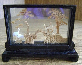 Asian cork diorama, vintage lacquered wood diorama,Chinese lacquered cork diorama, 3 dimentional cork diorama, Asian decoration