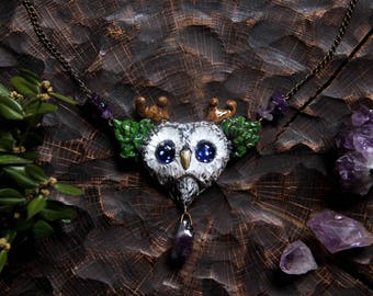 Horned Owl Necklace, Starry Eyed Owl Pendant, Owl  with Amethyst Necklace, Bird Jewelry, Magic Forest Necklace, Pagan Jewelry