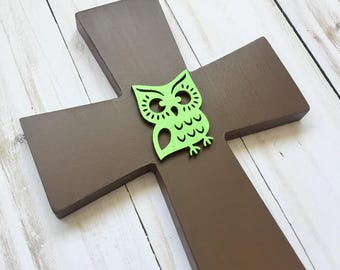 Woodland Wall Cross, Woodland Decorative Cross, Owl Nursery Cross, Woodland Baptism Gift, Owl Nursery, Baby Dedication, Owl Always Love You