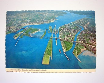 Canadian and American Soo Locks postcard 1976  / Ontario postcard / Sault Ste. Marie Postcard