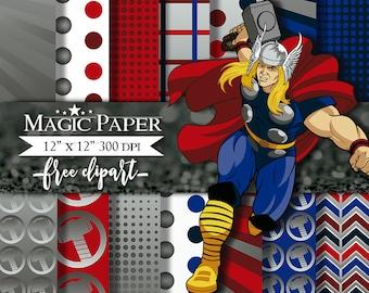 50% OFF SALE Thor SuperHeroes SuperHeroe Digital Paper Clipart Clip Art
