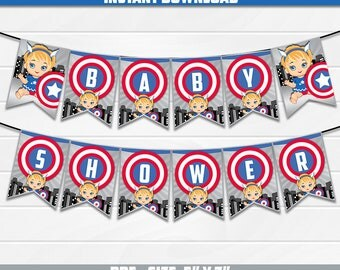 50% OFF SALE Banner Baby Shower Captain America, PDF Instant Download - Girl Girls