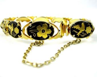 Damascene Black Gold Link Bracelet, Vintage Oval Spanish Style Women's Bracelet