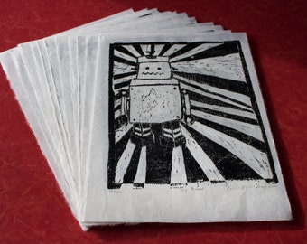 Toy Robot Linocut Print
