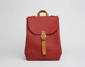 Leather backpack purse / red / 13""