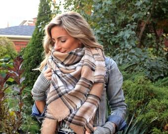 SALE!! Creamy Beige Plaid Blanket Scarf, Winter scarf, Blanket scarf, Plaid Scarf, Tartan scarf, Blanket plaid scarf, Oversized Sized Scarf