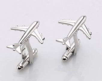 Airplane cufflinks. Cufflinks. Groomsmen cufflinks. Groom cufflinks. Silver cufflinks. Outdoorsmen gift. GET 25% OFF! Coupon Code: FREECUFFS