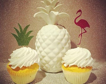 Pineapple & Flamingo Glitter Cupcake Toppers, Luau Cupcake Toppers, Hawaiian Theme, Birthday Cupcake Toppers- Set of 12