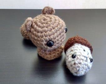 Crochet Brown Squirrel and Acorn amigurumi