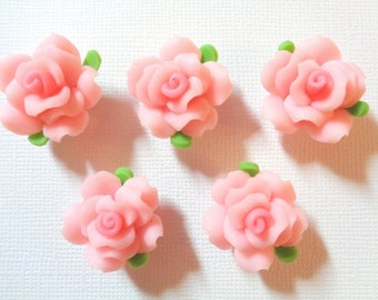 7 Flowers Clay Polymer Roses Fimo 20mm, Hole 1mm