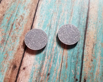 16mm Acrylic Silver Glitter Earring Blanks- Monogrammed Earrings - Vinyl Blanks - Acrylic Earring Blanks