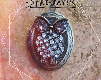 Antiqued brass owl locket necklace